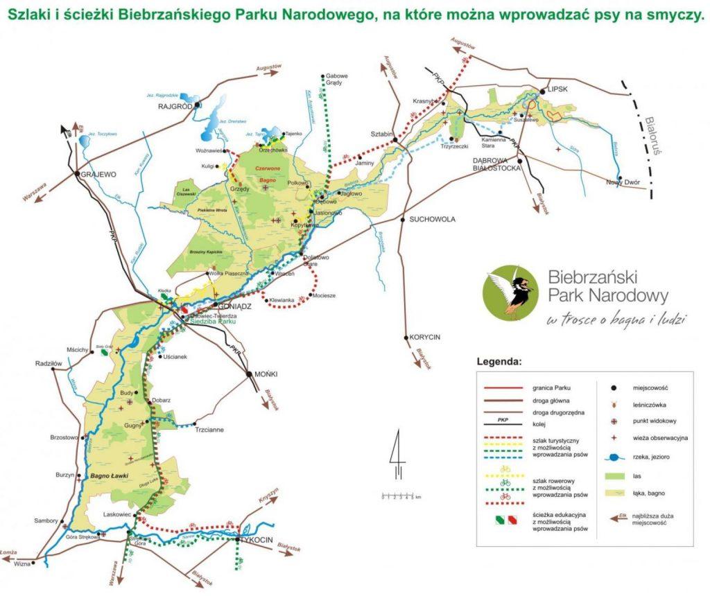 Biebrzański Park Narodowy - mapa szlaków udostępnionych dla psów